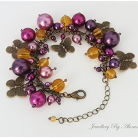 Cluster Bracelet-Purple and Yellow with Butterfly Charms