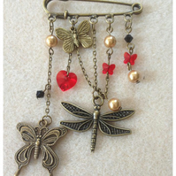 Steampunk Kilt Pin-Dragonflies and Butterflies