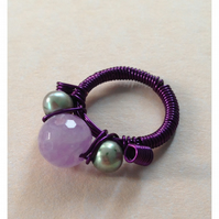 Lavender Amethyst, Green Potato Pearl and Purple Wire Ring