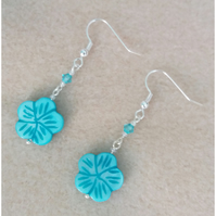Shell Flower and Crystal Earrings-Turquoise Blue