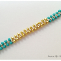 Seed Bead and Satin Cord Bracelet-Teal and Gold