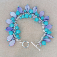 Quartzite and Shell Cluster Bracelet-Teal or Aqua and Purple