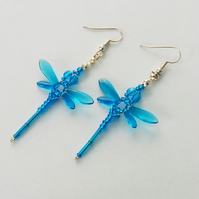 Beaded Dragonflies Earrings – Turquoise Blue