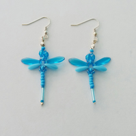 Beaded Dragonflies Earrings – Turquoise Blue and Opaque Blue