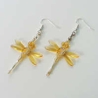 Beaded Dragonflies Earrings – Yellow or Gold