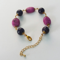 Purple Amethyst and Fuchsia Jasper Bracelet