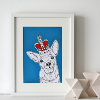 Chihuahau In A Crown Print