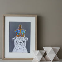 Pug In A Crown Print