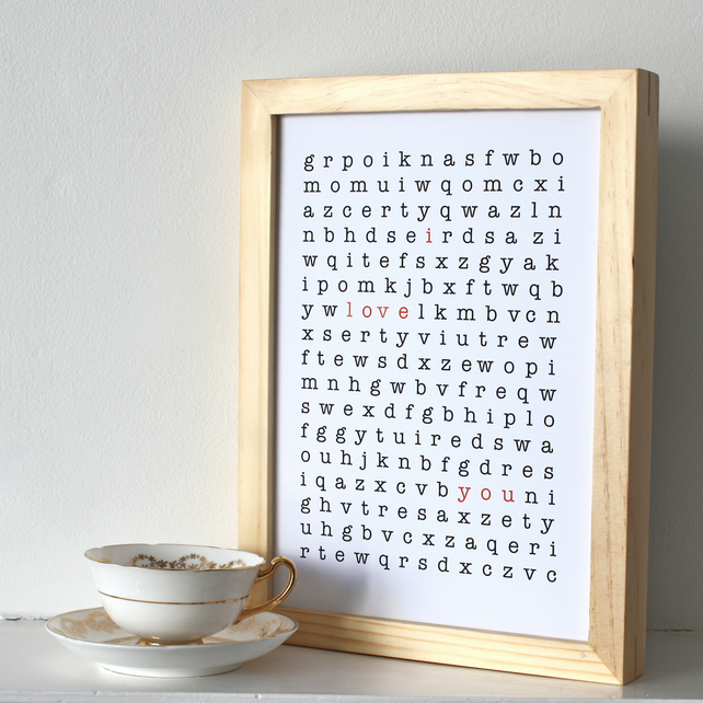 WORD  PUZZLE PRINT I Love You