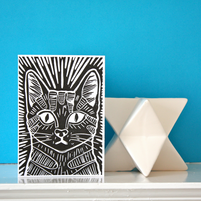 Linocut Cat Card