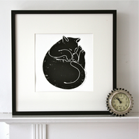 Sleeping Cat Linocut Print