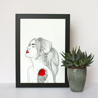 Tattoo Girl Portrait Print
