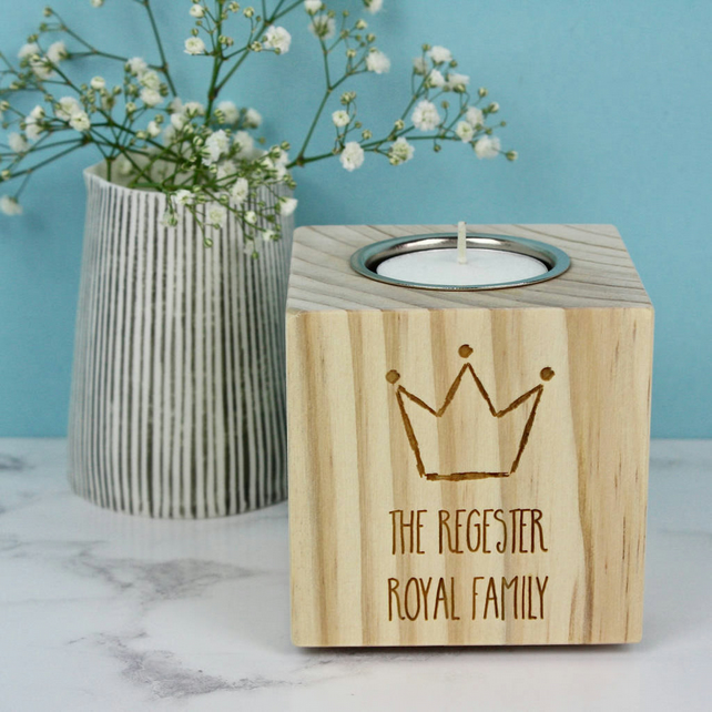 Family Crown Personalised Candle Holder