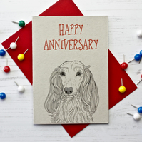 Long Haired Dachshund Anniversary Card