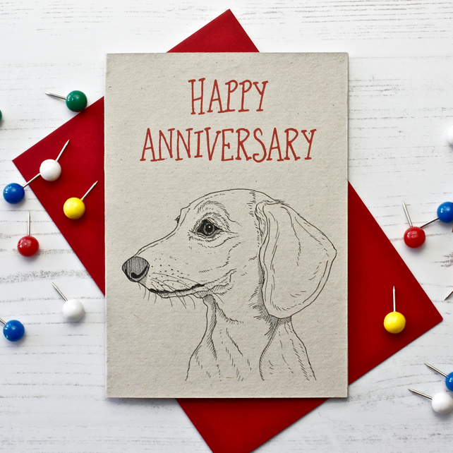 Dachshund Wedding Anniversary Card