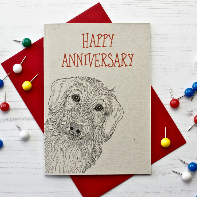 Wire Haired Dachshund Anniversary Card