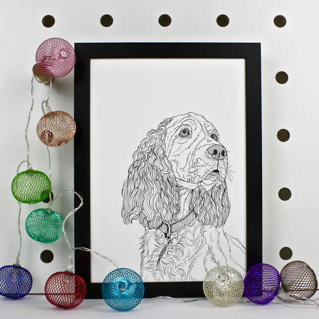 Spaniel Dog Portrait Print
