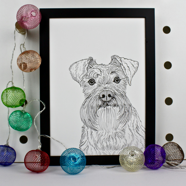 Schnauzer Dog Pet Portrait Print