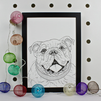 Bulldog Pet Portrait Print