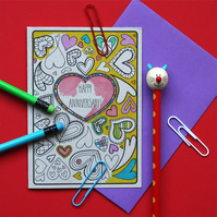 Anniversary Colouring In Card