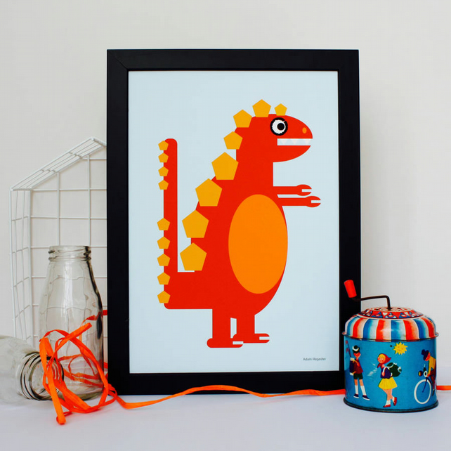 Orange Dinosaur Nursery Print