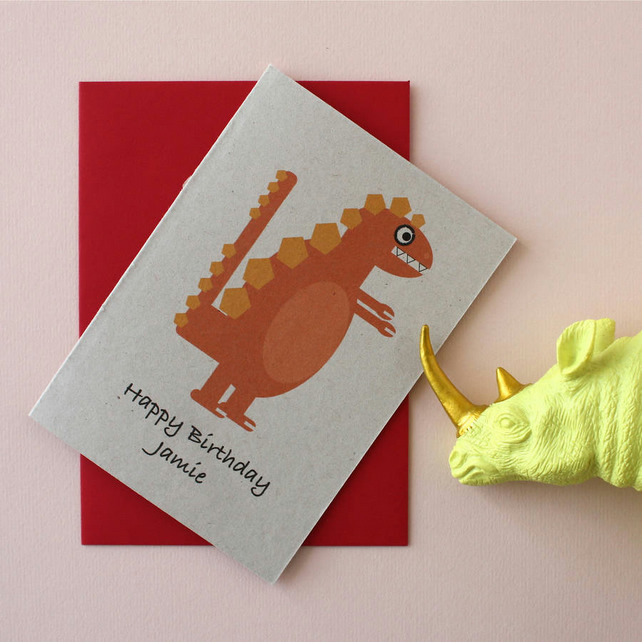 Orange Dinosaur Birthday Card