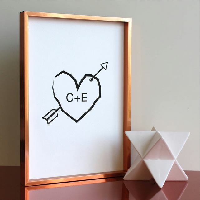 Cupids Arrow Personalised Heart Print