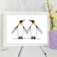 Cute Penguin Pair Print