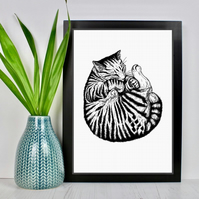 Sleeping Cat Drawing Print