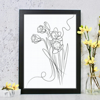 Daffodil Line Drawing Print