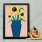 Blue Vase & Yellow Flowers Print
