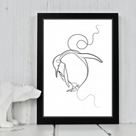 Penguin Line Drawing Print