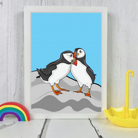 Puffin Bird Pair Print