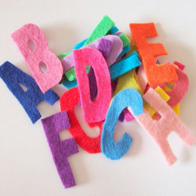 Small capital felt alphabet letters