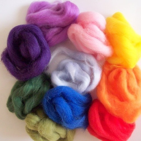Bag of Rainbow Felting Wool