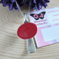 Recycled Silver-Plated Salt Spoon Necklace with Faux Enamel SPN082