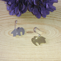 sterling silver and brass double elephant earrings
