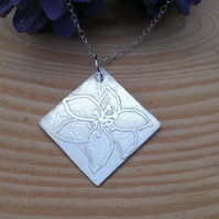 Sterling Silver Etched Lily Necklace