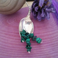 Silver Plated Spoon Necklace with Malachite SPN031501