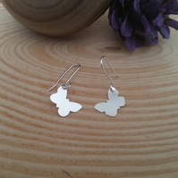Sterling Silver Dangly Butterfly Earrings