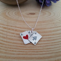 Sterling Silver Playing Cards Necklace