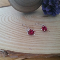 Sterling Silver Knitting Needle Earrings with Pink Wire