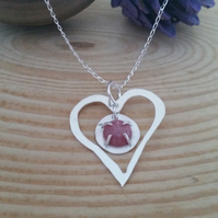 Sterling Silver and Rhodonite Heart Necklace