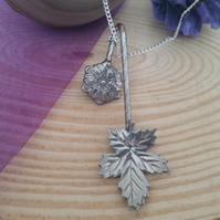 Upcycled Silver Plated Leaf Spoon Necklace SPN061514