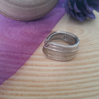 Upcycled Silver Plated Deco Style Spoon Handle Ring SPR061509