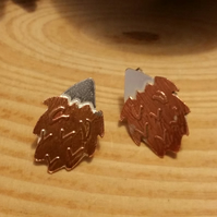 Sterling Silver and Copper Hedgehog Stud Earrings