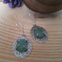Sterling Silver Etched Aventurine Earrings