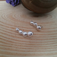 Sterling Silver Curved Ball Earrings