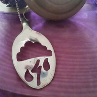 Silver Plated Upcycled Pierced Storm Spoon Necklace SPN111401