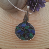 Silver Plated Upcycled Sauce Ladle Necklace With Gemstone Chips SPN061511